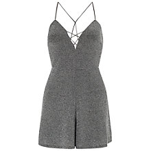 Buy Miss Selfridge Petite Cross Front Playsuit, Silver Online at johnlewis.com
