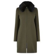 Buy Warehouse Zip Front Crepe Coat, Khaki Online at johnlewis.com