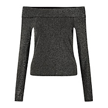 Buy Miss Selfridge Metallic Bardot Top, Silver Online at johnlewis.com