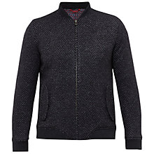 Buy Ted Baker Lloyd Herringbone Bomber Jacket, Charcoal Online at johnlewis.com