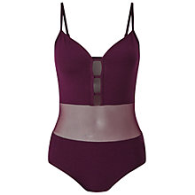 Buy Miss Selfridge Petites Mesh Body, Burgundy Online at johnlewis.com