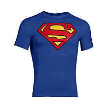 Buy Under Armour Transform Yourself Superman Compression T-Shirt, Blue Online at johnlewis.com
