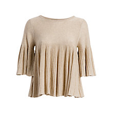 Buy Max Studio Half Sleeve Pleated Jumper, Heather Bone Online at johnlewis.com