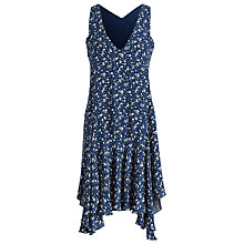 Buy Polo Ralph Lauren Floral Print Silk Dress, Navy/White Online at johnlewis.com