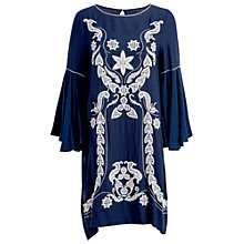 Buy Max Studio Fluted Sleeve Embroidered Dress, Navy/Ivory Online at johnlewis.com