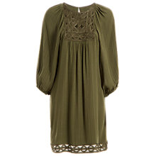 Buy Max Studio Long Sleeve Shadow Check Dress, Olive Online at johnlewis.com