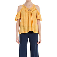 Buy Max Studio Shadow Check Cold Shoulder Top, Yellow Online at johnlewis.com
