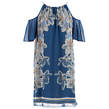 Buy Max Studio Cold Shoulder Printed Dress, Ocean/Aqua Pixel Floral Online at johnlewis.com