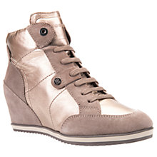 Buy Geox Illusion Wedge Heeled Lace Up Trainers, Champagne Leather Online at johnlewis.com