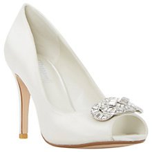 Buy Dune Dolley Jewelled Peep Toe Sandals, Ivory Satin Online at johnlewis.com