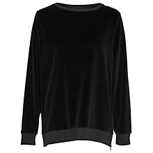 Buy French Connection Albany Velvet Crew Neck Sweatshirt, Black Online at johnlewis.com