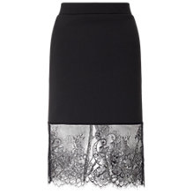 Buy Miss Selfridge Lace Hem Skirt, Black Online at johnlewis.com