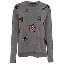 Buy French Connection Lucky Knit Crew Neck Jumper, Grey Mel/Multi Online at johnlewis.com