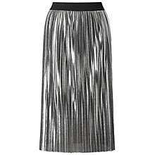 Buy Miss Selfridge Foil Pleated Skirt, Silver Online at johnlewis.com