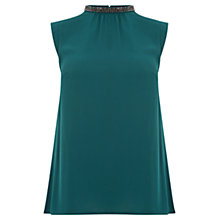Buy Oasis Embellished Pleat Back Top, Teal Green Online at johnlewis.com