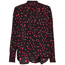 Buy French Connection Micro Poppy Blouse, Black/Multi Online at johnlewis.com