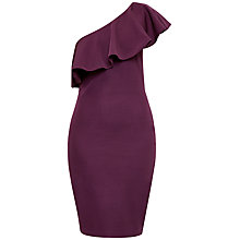Buy Ted Baker Judei One Shoulder Frill Dress, Deep Purple Online at johnlewis.com