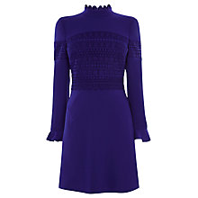 Buy Karen Millen Frill Neck Lace Mini Dress, Blue Online at johnlewis.com