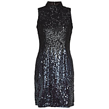 Buy French Connection Sparkle High Neck Dress, Gunmetal Online at johnlewis.com