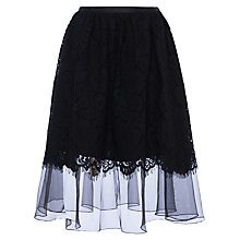 Buy French Connection Spotlight Lace Flared Skirt, Black Online at johnlewis.com
