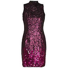 Buy French Connection Starlight Sparkle High Neck Sequin Dress, Dark Magenta Online at johnlewis.com