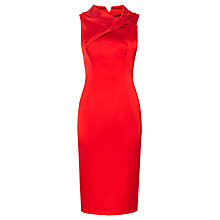 Buy Karen Millen Fold Detail Satin Dress, Red Online at johnlewis.com