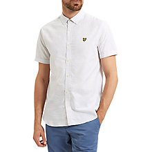 Buy Lyle & Scott Cotton Running Stitch Short Sleeve Shirt, White Online at johnlewis.com