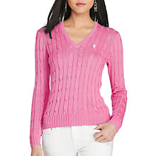 Buy Polo Ralph Lauren V-Neck Cable Knit Jumper Online at johnlewis.com
