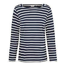 Buy Seasalt Stannary Stripe Jersey Top, Breton Night Ecru Online at johnlewis.com