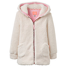 Buy Little Joule Girls' Huddle Fleece Hoodie, Cream Online at johnlewis.com