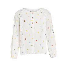 Buy Margherita Kids Girls' Daisy Embroidery Cheesecloth Smock Blouse, White/Multi Online at johnlewis.com
