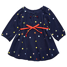 Buy Margherita Kids Girls' Daisy Embroidery Cheesecloth Smock Dress, Navy Online at johnlewis.com