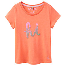 Buy Little Joule Girls' Astra Hi Bye Sequin T-Shirt, Orange Online at johnlewis.com