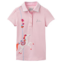 Buy Little Joule Girls' Moxie Horse Appliqué Polo Shirt, Rose Pink Online at johnlewis.com