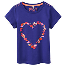Buy Little Joule Girls' Maggie Floral Heart Appliqué T-Shirt, Blue Online at johnlewis.com