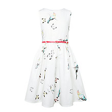 Buy John Lewis Girls' Water Colour Bird Dress, Cream/Multi Online at johnlewis.com