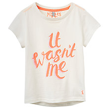 Buy Little Joule Girls' Pixie It Wasn't Me Slogan T-Shirt, Cream Online at johnlewis.com