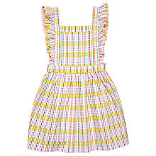 Buy Margherita Kids Girls' Seersucker Check Pinafore Dress, White/Multi Online at johnlewis.com