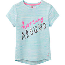 Buy Little Joule Girls' Astra Horsing Around T-Shirt, Blue Online at johnlewis.com