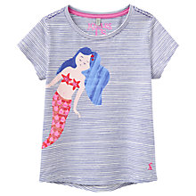 Buy Little Joule Girls' Maggie Mermaid T-Shirt, Blue Online at johnlewis.com