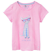 Buy Little Joule Girls' Maggie Feline Applique T-Shirt, Pink Online at johnlewis.com