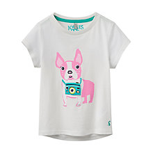 Buy Little Joule Girls' Pixie Pug T-Shirt, Natural Online at johnlewis.com