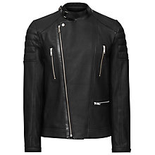 Buy Reiss Harley Grained Leather Biker Jacket, Black Online at johnlewis.com