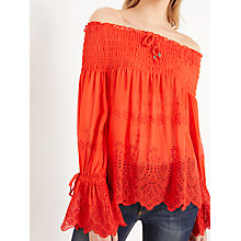 Buy AND/OR Stevie Embroidered Bardot Top, Soft Red Online at johnlewis.com