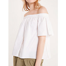 Buy AND/OR Cotton Bardot Top, White Online at johnlewis.com