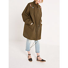 Buy AND/OR Embroidered Parka Jacket, Khaki Online at johnlewis.com