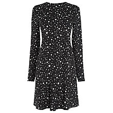 Buy Warehouse Star Print Flippy Dress, Black Online at johnlewis.com