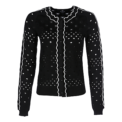 Yanny London Devore Pattern Cardigan, Black