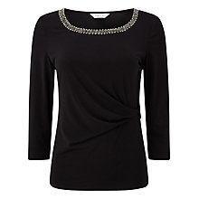 Buy Precis Petite Embellished Top, Black Online at johnlewis.com