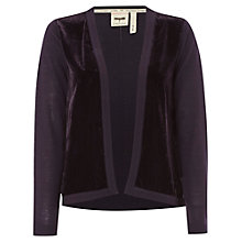 Buy White Stuff Empress Velvet Panel Cardigan, Deep Purple Nightshade Online at johnlewis.com